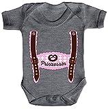 ShirtStreet Wiesn Strampler Bio Baumwoll Baby Body Kurzarm Jungen Mädchen Oktoberfest - Mädchen Lederhose Prinzessin, Größe: 0-3 Monate,Heather Grey Melange