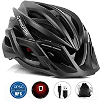 MOKFIRE Adult Bike Helmet CPSC Certified with Rechargeable USB Light, BicycleHelmet for Men Women Road Cycling & Mountain Biking with Detachable Visor/Replacement Lining, 22.44-24.41 Inches