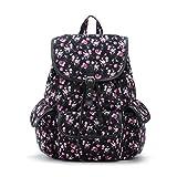 Yiuswoy Damen Rucksack Vintage Canvas Schultasche Mädchen Freizeit Daypack Mode Blumen Backpack - Schwarz und Rosa