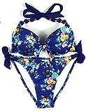 EONAR Damen Seitlich Gebunden Bikini-Sets Abnehmbar Bademode Push-up-Bikinioberteil mit Nackenträger(XXL,B-Floral)