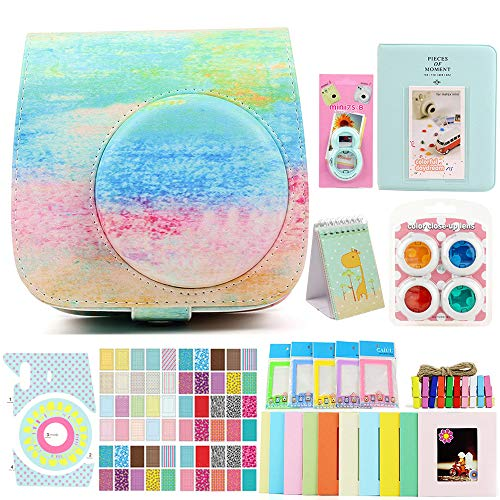 Funnideer 15 in 1 Accessories Bundles for Fujifilm Instax Mini 9 8+ 8 Instant Camera(Mini 9 8+ 8 Case/Color Filters/Selfie Lens/Book&Stand Album/Wall Hanging&Plastic Stand Frame/Camera&Film Corner Sticker)- Rainbow Mist