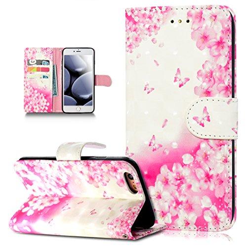 Custodia iPhone 6S Plus,Custodia iPhone 6 Plus,ikasus® iPhone 6S Plus / 6 Plus Custodia Cover [PU Leather] [Shock-Absorption] Protettiva Portafoglio Cover Custodia 3D colorato dipinto di arte dipinto Farfalla di fiori rosa
