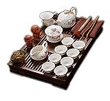 Chinesisches Kung Fu Keramik Tee Set Mit Hölzernem Tee Tablett, Pfirsich Blüten Muster Weinlese Keramik Teeservice, Für Geschenk Und Haushalts,Büro