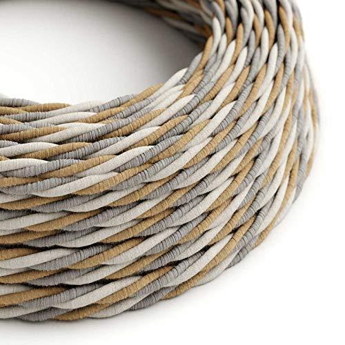 Natürlichem Leinen-finish (Creative-Cables Textilkabel geflochten, Country natürliche Baumwoll Leine mit Jute, TN07-5 Meter, 3x0.75)