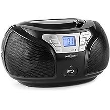 oneConcept Groovie BK • CD de radio • Boom Box • CD Interfaz • • Bluetooth Reproductor de MP3con puerto USB Puerto • Radio FM Sintonizador • de 3,5mm Jack de entrada auxiliar • pantalla LCD • Reproducción Programación • Red de batería de funcionamiento • portátil • Negro