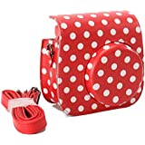 [Fujifilm Instax Mini 8 Case] - Nodartisan Comprehensive Protection Instax Mini 8 Camera Case Bag With Soft PU Leather Material (Dot Red)