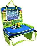 Gelible Kids Autositz, Reisetablett, Kleinkind, Snacks, Spieltablett mit abnehmbaren Netztaschen, Schoßorganizer fürs Flugzeug, für den Kinderwagen, Aktivitäten, zum Lernen und Reisen(Blau)