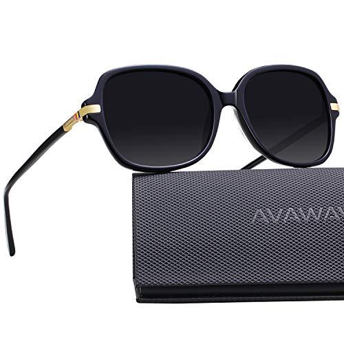 AVAWAY Runde Damen Sonnenbrille Polarisierte Frauen Brillen UV400 Schutz, Acetat Rahmen, A1
