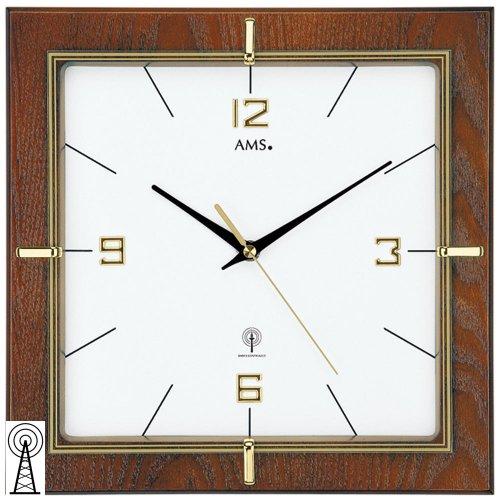 AMS Orologio da parete 5834Funk Noce laccato, Vetro Minerale color oro stampata