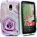 Accessory Master Etui en silicone pour Nokia Lumia 620 Violet rose fleur