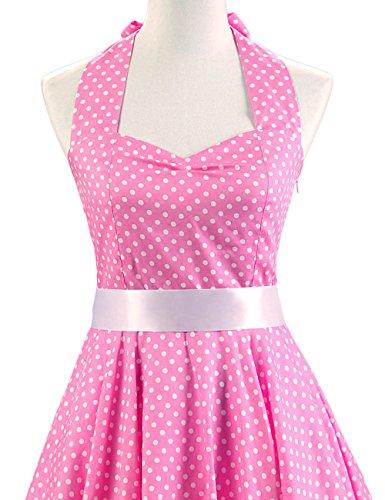 MicBridal® 1950er Vintage Ballkleider Chic Neckholder Retro Hepburn Pinup Rockabilly Partykleider Abendkleider Pink
