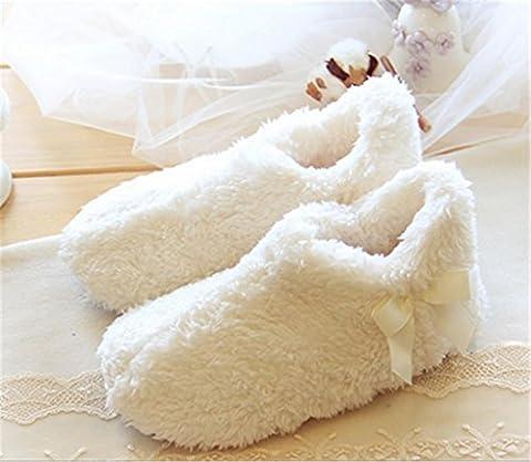 Chaussons Ladies Chaud et confortable Chaussures de maison Intérieur Chaussures en coton douce et silencieuses Chaussons de velours Coral Velvet Living Mule , 38-39 , meters white