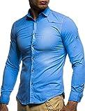 LEIF NELSON Herren Hemd Slim Fit BŸgelleicht Trend Langarm Freizeit Jeans Denim Look; Größe S, Hell Blau