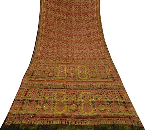 Vintage Indian Saree bestickt Multicolor Sari Crepe Seide Deco Stoff 5 Yards