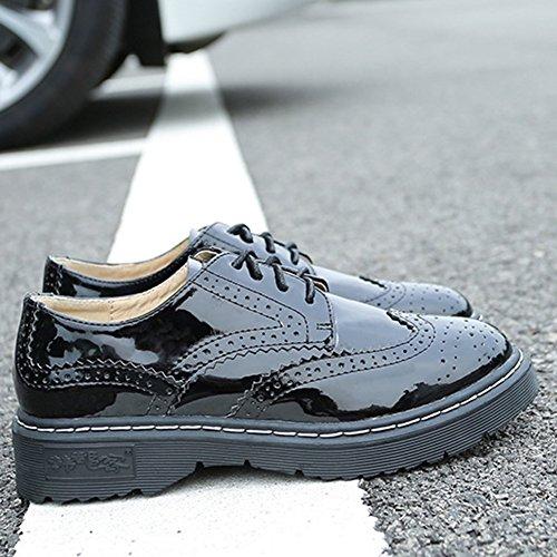 Noir en Ville Décontractées wealsex Style Lacets Vernis Femme Chaussures Lacets Plate Cuir de Satin à Derbies Rétro Chaussures Noir Bullock qwHzA