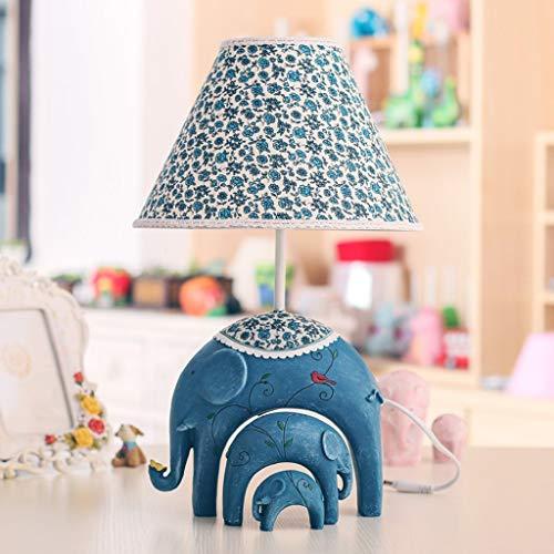 XHX Lámparas de mesa, lámparas de mesa de dormitorio para niños de personalidad simple, lámpara de elefante para bebé de moda creativa, lámpara de mesita de noche regulable, luz de lectura de base az