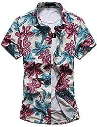 YuanDian Hombres grandes patios camisa suelta de manga corta salvaje impresión flor camisetas