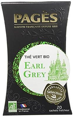 Pagès Thé Vert Earl Grey Bio 20 sachets - Lot de 2
