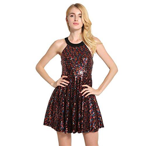 JOTHIN Damen Pailletten Kleider ärmellose Ballkleid Minikleid Sommerkleid Kurz Kleid Rückenfreie Rockabilly Kleid Rot