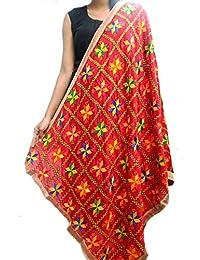 Phulkari Dupatta Hand Embroidered Multi Colored Thread Embroidered Work Phulkari Dupatta