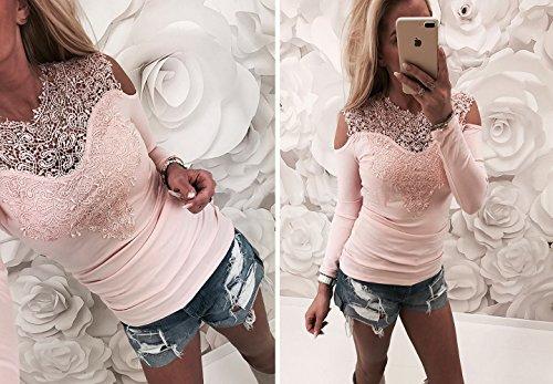 Junshan Femmes T-Shirt Blouse à Manches Longues Coutures Dentelle Creuses Chemisier Couture D'Automne et D'Hiver Nouvelle Femme Lacet Rose