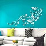 Grandora W630 Wandtattoo Blumenranke mit Schmetterlingen Wandaufkleber schwarz (BxH) 149 x 58 cm