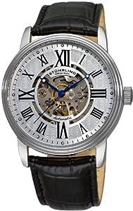 Reloj Stuhrling para caballero de cuero Resistente al agua plata de Stuhrling