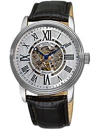 amazon co uk stuhrling original watches stuhrling original men s classic delphi venezia automatic skeleton black silver tone watch 1077 33152