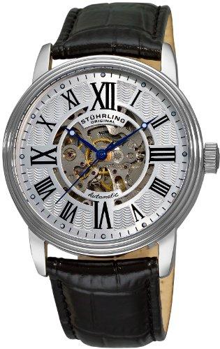 Stuhrling Original 1077.33152 - Montre Automatique - Affichage Analogique - Bracelet Cuir Noir et Cadran Argent - Hommes