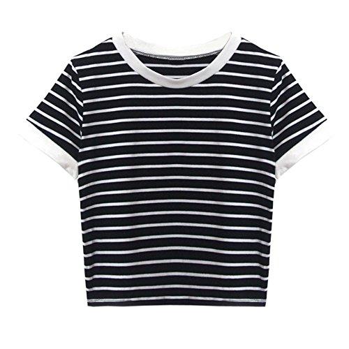 Lonshell Damen Gestreiftes Bauchfrei T-Shirt, Sommer Kurzarm Crop Tops Teenager Mädchen Sport Oberteile Bluse Rundhals Casual Hemd Pullover - Denim-gestreiftes T-shirt