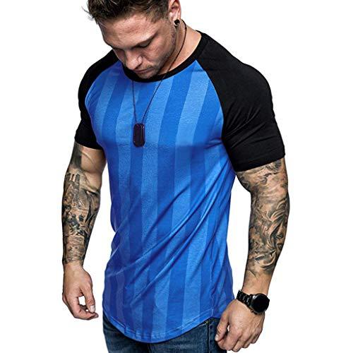 BHYDRY Herren Sommer Lose Beiläufige Tägliche Monochrome Langarm Shirt (Medium,Blau) -