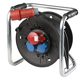 as - Schwabe CEE Würfel Kabeltrommel 400 V und 230 V, 25 m Gummischlauchleitung H07RN-F 5G2,5, IP 44 für Gewerbe, Baustelle, schwarz, 21122