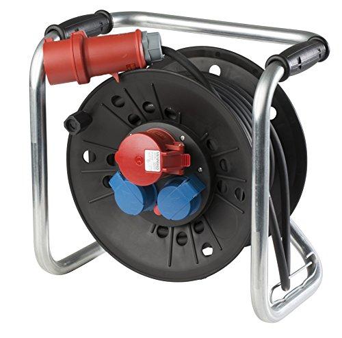as - Schwabe CEE Würfel Kabeltrommel 400 V und 230 V, 40 m Gummischlauchleitung H07RN-F 5G1,5, IP 44 für Gewerbe, Baustelle, schwarz, 21121