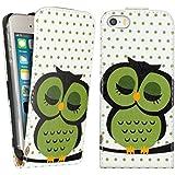 kwmobile Hülle für Apple iPhone SE / 5 / 5S - Flip Case Handy Schutzhülle Kunstleder - Flipcover Cover Eule Schlaf Design Grün Schwarz Weiß