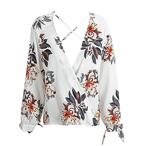 LUFA Women Cross Deep V-Neck Blouse Shirt Floral Print à manches longues en mousseline de soie Loose Top
