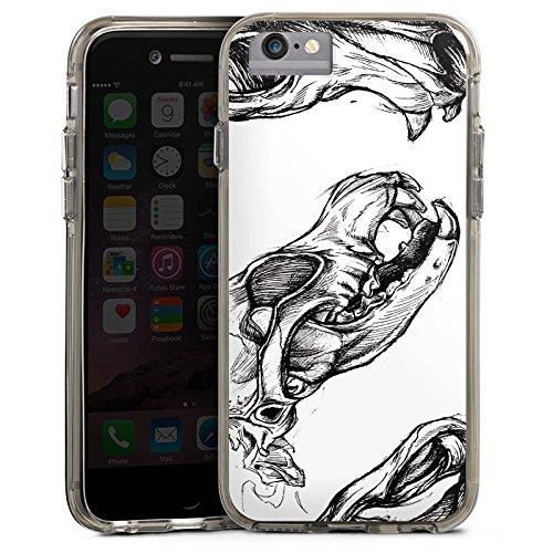 Apple iPhone 7 Bumper Hülle Bumper Case Glitzer Hülle Skull Schädel Skizze Bumper Case transparent grau