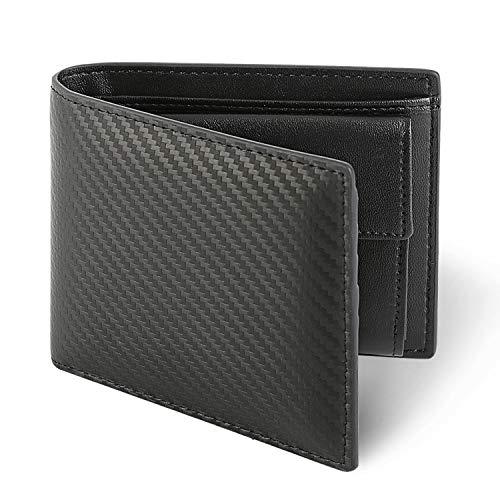 Herren Geldbörse, Schwarze Leder Geldbeutel, Doppelte Falte Portemonnaie mit Münzfach, Kohlefaser Brieftasche, Geldbörse Carbon-Optik, Kurze Geldbörse