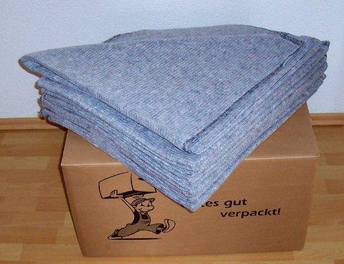 10 PROFI Packdecken - Umzugsdecken 350 g/m² 230 cm x 100 cm - PRAKTISCH im Umzugskarton - Profi Qualität