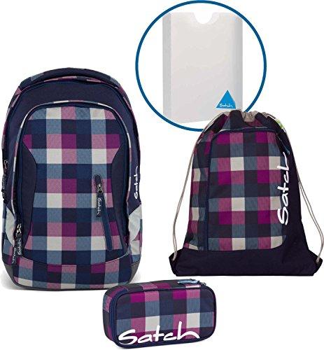 Satch Sac à dos d'écolier Set de 4 accessoires avec Sleek Berry Carry 966 Carreaux Bleu Violet