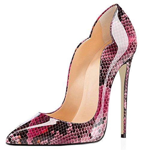 Edefs Mujer Tacón Alto Elegant Party Shoes De Moda Zapatos De Corte Puntiagudo Talla 35-45 Rojo