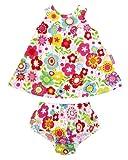 Toby Tiger Multi Flower Baby Girls Dress & Pants Set 3-6m
