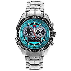 Leopard Shop TVG 568 Digital Quartz Double Movt Men Watch Luminous LED Display Military Wristwatch Day Alarm Chronograph Green