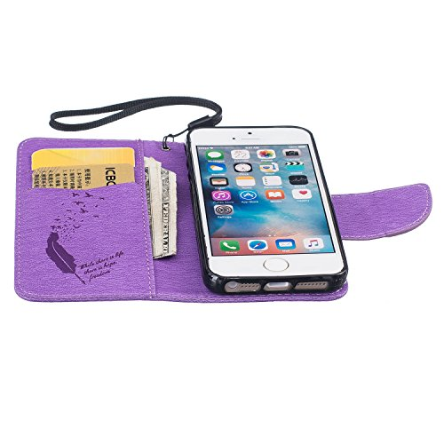 iPhone SE Hülle,iPhone 5S Tasche,iPhone 5 Case - Felfy Flip Mappen Luxe Bookstyle Case Kasten 3D Reliefprägung Stilvolle Kreative Mode Nette Katze & Baum Design Muster Premium Tasche Geldbeutel Folio  Federn Lila