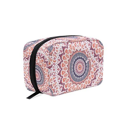 Bolsa de maquillaje con diseño de mandala, color rosa, bolsa de aseo, neceser de viaje para mujer, organizador portátil, bolsa de almacenamiento, caja de bolsas