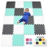 qqpp EVA Puzzle Tapis Mousse Bebe - Idéal pour Les Tapis De Jeux Enfant,18 Dalles(30*30*1cm),Blanc,Vert,Gris.QQC-AHLb18N