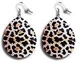 Retro Look 80's Jahre Gold helle Leopardenmuster Metall Blatt Tropfen runde Ohrringe