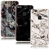 CLM-Tech 3in1 Zubehör Set: 3 x TPU Gummi Hülle für Huawei P10 Lite Schutzhülle Marmor Muster schwarz weiß bunt