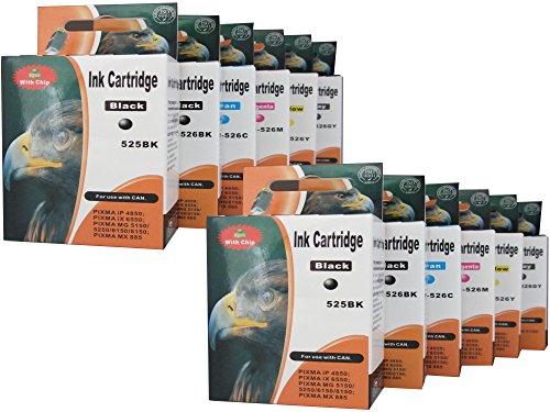 8200 Ersatz (12 Druckerpatronen für Canon Pixma MG6150 MG6250 MG8150 MG8250 MG 6100 6150 6200 6250 8100 8150 8200 8250 mit Chip (Sie bekommen 2 x schwarz (ersatz PGI-525BK) 2 x schwarz (ersatz CLI-526BK) 2 x blau (ersatz CLI-526C) 2 x rot (ersatz CLI-526M) 2 x gelb (ersatz CLI-526Y) 2 x grau (ersatz CLI-526GY))