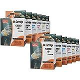 12 cartouches d'encre compatibles pour Canon Pixma MG 6100 6150 6200 6250 8100 8150 8200 8250 / Canon PGI-526BK CLI-526BK CLI-526C CLI-526M CLI-526GY AVEC PUCE !!!