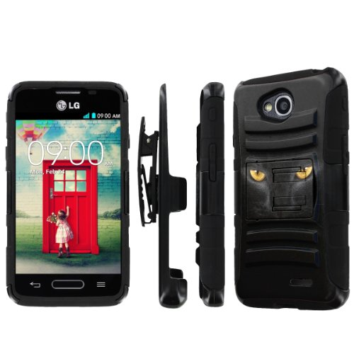NakedShield LG Optimus L90 NakedShield LG Optimus L70 (Cat Eye) Combat Tough Holster Kickstand Armor Phone Case